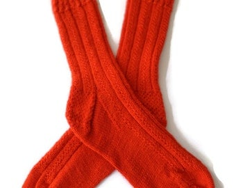 Socks - Hand Knit Women's Socks in Hot Tamale - Size 7-8.5