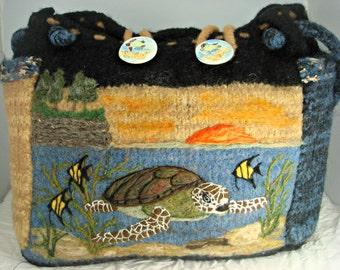 Felted Tote,felted purse, turtle art, Sea Turtle art, travel tote,needle felt turtle
