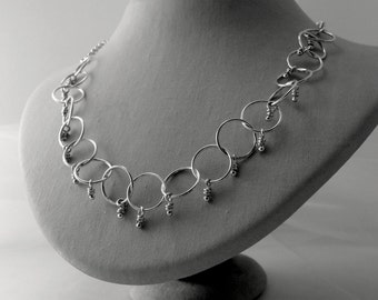 Loops Necklace, Sterling Silver, Handmade Chain, Rings Knots Chain, Rustic Knots, Knotted Chain, Organic Silver Knots, Knots  Jewelry