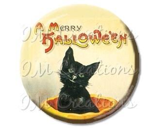 "Pocket Mirror, Magnet or Pinback Button - Party Favors - 2.25""- Vintage Merry Halloween Black Cat in Pumpkin MR286"
