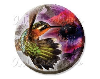 "Pocket Mirror, Magnet or Pinback Button - Wedding Favors, Party themes - 2.25""- Pretty Humming Bird MR431"
