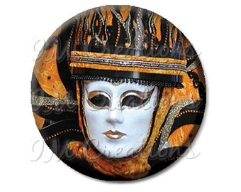"Pocket Mirror, Magnet or Pinback Button - Wedding Favors, Party themes - 2.25""- Masquerade orange and black MR262"