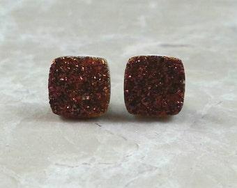 "Red Purple Burgundy Maroon 8mm 1/3"" Square Druzy Drusy Stud Earrings with Nickel Free Titanium Posts"