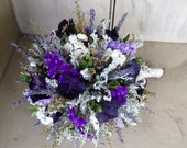 Bridal bouquet made with all natural dried flowers with a birch log handle and stand. Converts into a topiary for a beautiful centerpiece.