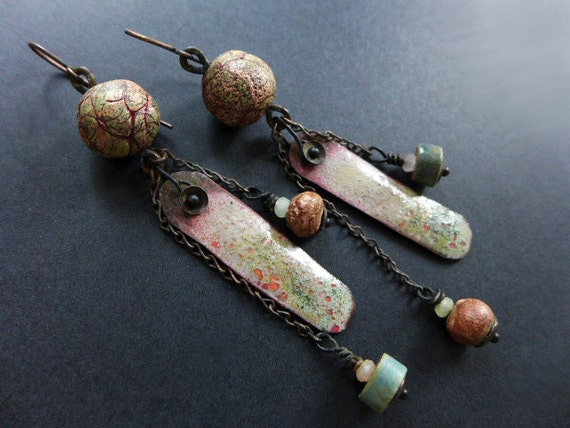 Aphelion. Assemblage earrings with art beads in sage and salmon.