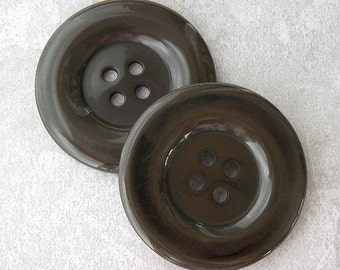 ENORMOUS Pair Vintage Buttons 38mm - 1 1/2 inch Dark Coffee Brown Plastic Buttons - 2 VTG Smooth Glossy Brown Sewing Buttons PL177