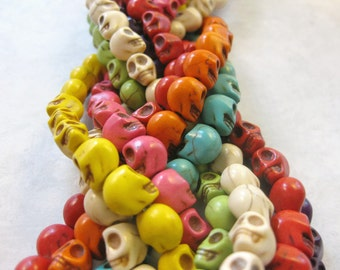 9mm Multi Colored Howlite Skull Beads