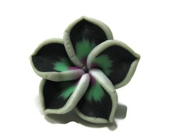 21mm Black and Green Polymer Clay Flower Beads set of 4