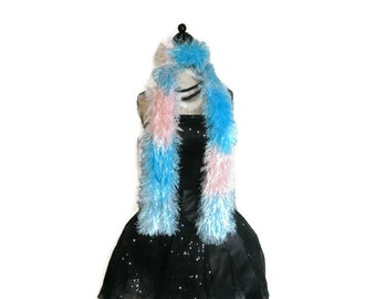 "Pink and Blue Fun Fur Scarf ""Cotton Candy"""