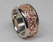 Viking Gripping beast ring in 14K red and 14K white palladium gold, reserved for Tiffany O' Neill