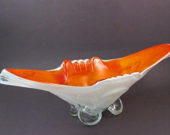 Vintage Murano Glass Orange Glass Encased in White and Clear Glass Footed Oblong Art Glass Bowl Murano Art Glass Italian Glass Bowl