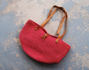 vintage 80s Purse - Red Woven Sisal Tote Bag - Boho Ethnic Straw Jute Market Bag