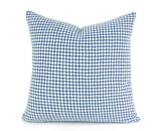 Blue Houndstooth Pillow Covers, Wooly Plaid Cushion Covers, Blue Cream Plaid Pillow, Blue Cabin Pillow, Country Home Decor, 20x20, 22x22