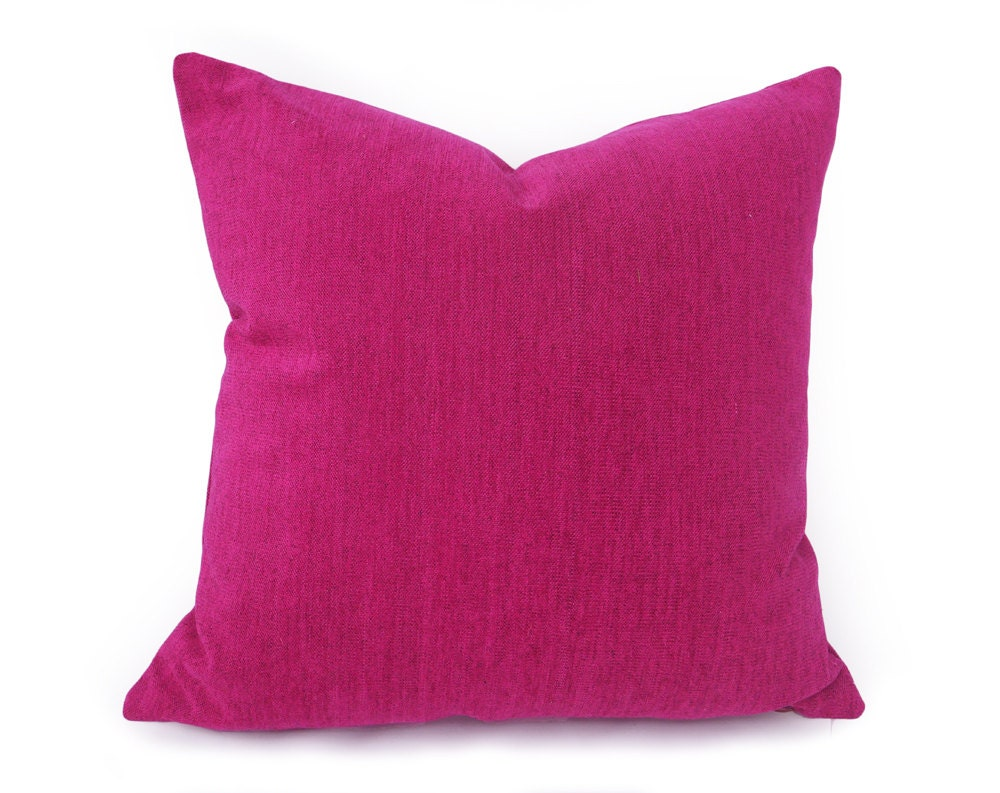 Vibrant Fuchsia Pillow Solid Pink Throw Pillow Fushcia