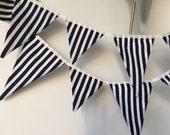 Nautical Stripe Bunting / Fabric Garland, Party Bunting, Pennants, Graduation Bunting, Circus flags