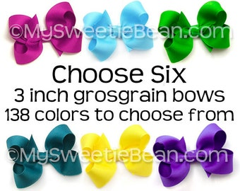 "3 inch Hair Bows for Toddlers, 138 Colors, 3 Inch Boutique Bows for Girls, 3"" Grosgrain Bows Set of 6, Choose Colors, Medium Bows for Baby"