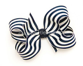 Nautical Boutique Bow, Navy Stripe Hair Bow, Navy and White, 3 inch bow, Back to School Uniform Match