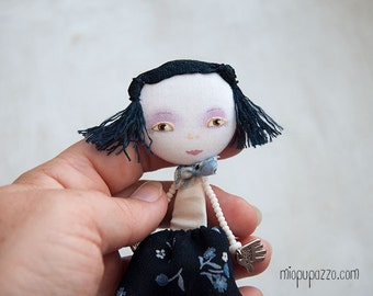 Little Girl, Art Doll Brooch mixed media collage