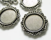 5 Antique Silver Round Pendant Blanks - Inner Dimension: 18mm