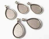 5 Antique Silver Teardrop Tear Drop Pendant Blanks Trays Bezels 25mmx18mm