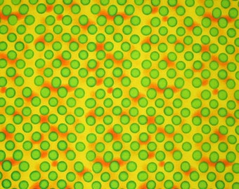 Green Polka Dots on Yellow Cotton Fabric, Green and Yellow Polka Dot Patterned Fabric for patchwork and crafts