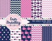 Pink Whales Digital Paper Pack Instant Download Girls Pink and Blue Digital Paper Set Chevron Polka Dots Hearts & Herringbone Patterns