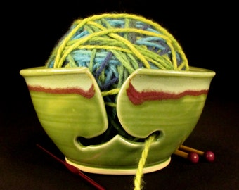 Yarn Bowl - Knitting Bowl - Green Yarn Bowl - Crochet Bowl - Yarn Holder - Pottery Yarn Bowl - YarnBowl - Gift for Knitters -InStock