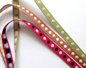 Red, Green, Brown, Poka Dot Trim, dot trim, trim, trims, fabric trim, ribbon, card decoration, gift wrap, 3 colors, 6 yards, 3/8 inch wide