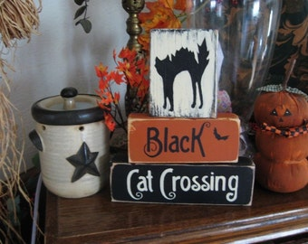 Primitive Halloween Wooden Sign Blocks Distressed Shabby Black Cat Crossing
