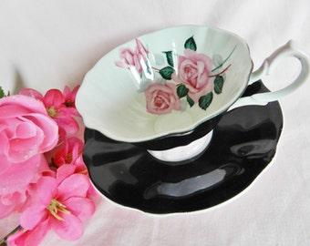 Black Queen Anne Teacup, Black Tea Cup, Queen Anne Teacup, Vintage Teacup, 1950s Teacup, no A 3