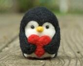 Needle Felted Penguin - Valentine Heart