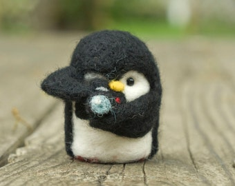 Needle Felted Penguin - Holding Camera