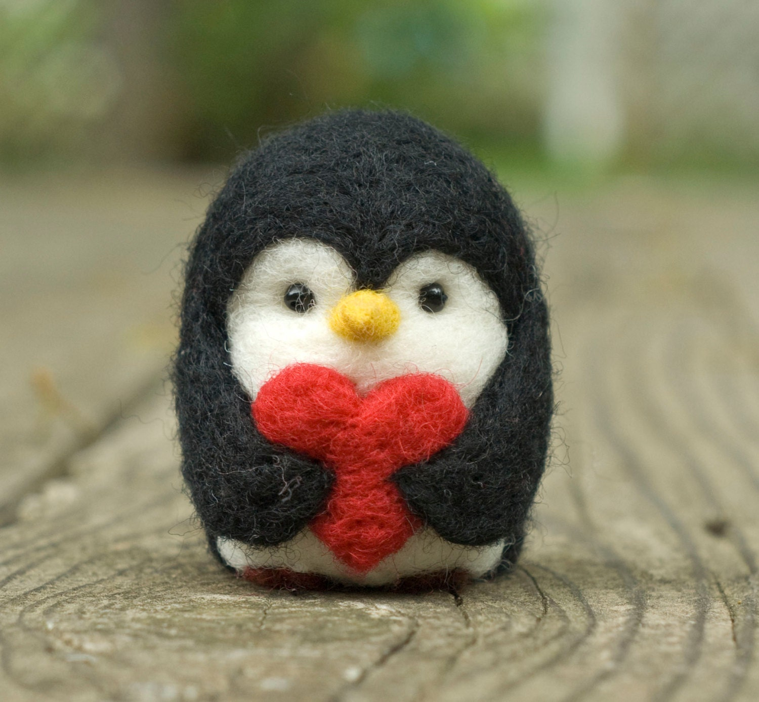 Needle Felted Penguin Valentine Heart