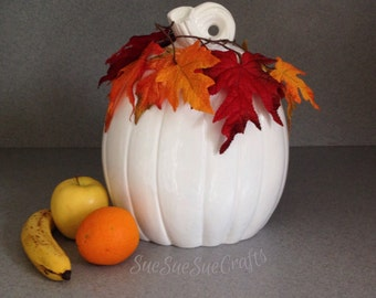 Large white pumpkin Thanksgiving fall wedding decoration centerpiece slim style SP062015
