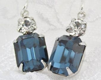 Blue Rhinestone Silver Earrings, Sapphire Wedding Earrings, Octogon Crystal Earrings, Bridesmaid Jewelry, Dark Blue, Sterling Silver