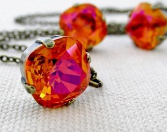Orange Pink Swarovski Rhinestone Necklace, Crystal Bridesmaid Necklace, Astral Pink, Square Rhinestone Necklaces, Swarovski Jewelry