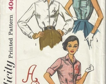 1957 Simplicity 2195 Blouse pattern Bust 32