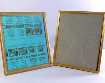 Vintage 8 x 10 Gold Tone / Brass Metal Picture Frames Set of Two Family Photo Display, Wedding Display, Menu Display
