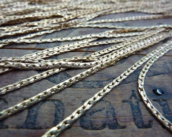 Chain Necklace Chain Vintage Brass Chain Flat Cable Chain 15 inch Necklace 1.7mm