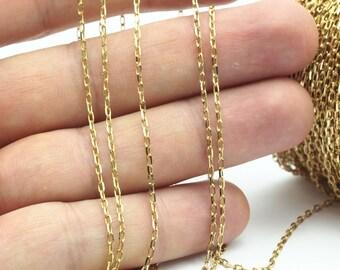 Raw Brass Chain, 10 M - (1.5x3mm) Raw Brass Soldered Chain -bs 1069