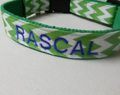 Personalized Dog or Puppy Collar - Embroidered Collar/Girl dog/Boy dog/Chevron Dog Collar