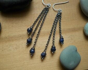 blue sapphire chain earrings, long, elegant sterling silver earrings for everyday wear, feminne earrings, winding vine earrings