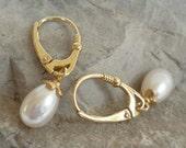 Freshwater Pearl gold vermeil lever back earrings lustrous pink white bridal
