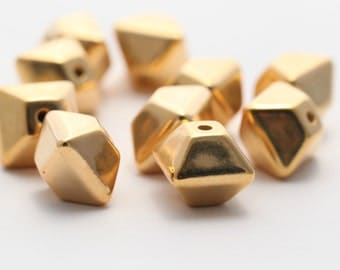Vintage Gold Lucite Bicone Beads 16mm (10)