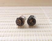 Smoky Quartz Stud Earrings Sterling Silver 6mm On Sale