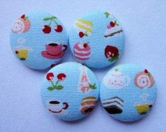 Cute Afternoon Tea Baby Blue Japanese Fabric Covered Buttons For Sewing - Set of 4 - 22mm - Cake, Coffee, Pudding, Cherry, Strawberry, Roll