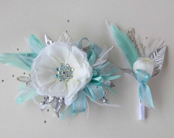 Gatsby Corsage in White, Mint, & Silver with matching Boutonniere for your Prom