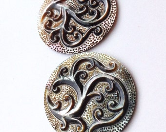 Ornate South Sea Carved Shell Briolette Pair