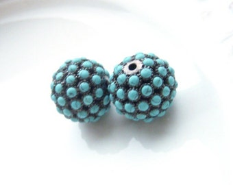 Turquoise Pave Oxidized Sterling Silver Bead Focal - One Bead Per Purchase