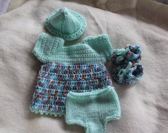 Handknit and crocheted 10 inch doll clothing